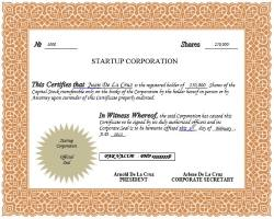 Philippines Startup Corporation Share Certificate