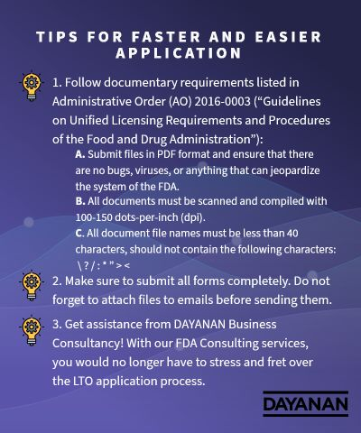 Tips for Faster and Easier FDA LTO Application