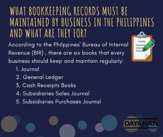 What bookkeeping records must be maintained by businesses in the Philippines and what are they for?