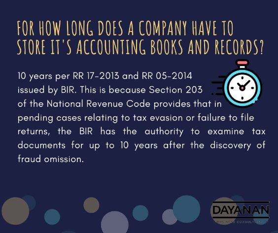 For how long does a company have to store its accounting books and records?