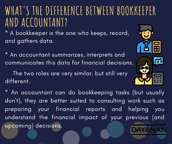 What's the difference between bookkeeper and accountant?